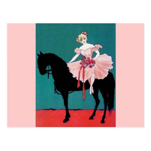 Ejecutante de circo del vintage con un caballo postal