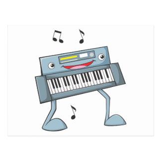 Ejecutante musical feliz del teclado postales
