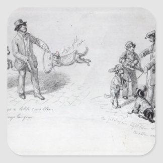 Ejecutantes de la calle, c.1839-43 pegatina cuadrada
