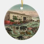 Ejemplo 1882 de los animales de la arca de Noahs Adorno Redondo De Cerámica