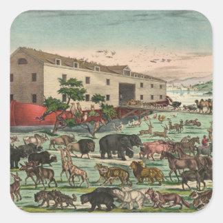 Ejemplo 1882 de los animales de la arca de Noahs Pegatina Cuadrada