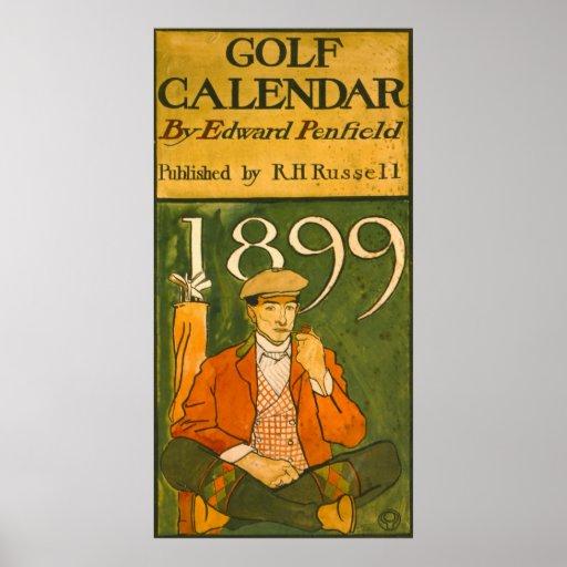 Ejemplo 1899 del calendario del golf póster