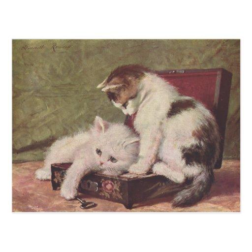 Ejemplo 1907 del vintage de jugar de los gatitos postal