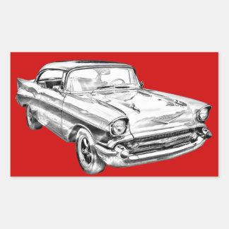 Ejemplo 1957 del Bel Air de Chevy Pegatina Rectangular