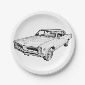 Ejemplo 1966 del coche del músculo de Pontiac Le Plato De Papel De 7 Pulgadas