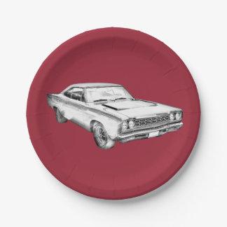 Ejemplo 1968 del coche del músculo del Roadrunner Plato De Papel De 7 Pulgadas