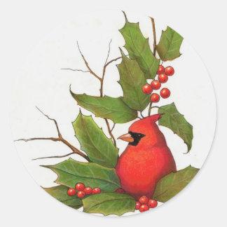 Ejemplo a mano del navidad: Acebo, cardinal Pegatina Redonda