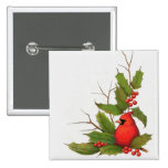 Ejemplo a mano del navidad: Acebo, cardinal Pin Cuadrada 5 Cm