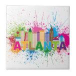Ejemplo abstracto del horizonte de Atlanta Georgia Azulejo Cuadrado Pequeño