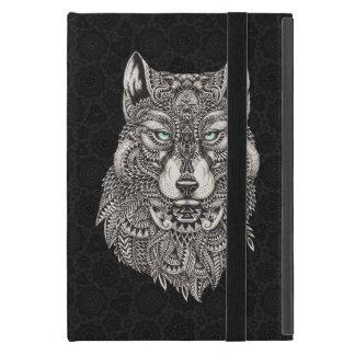 Ejemplo adornado de la cabeza negra del lobo iPad mini coberturas