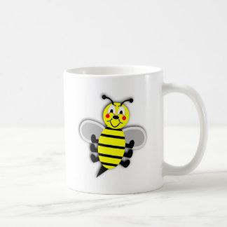 Ejemplo amarillo negro de la abeja del dibujo taza