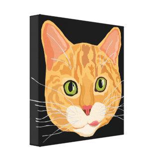 Ejemplo anaranjado lindo de la cara del gato lienzo envuelto para galerías