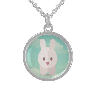 Ejemplo animal lindo del conejito de la decoración collar de plata esterlina