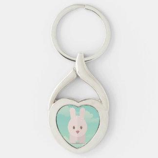 Ejemplo animal lindo del conejito de la decoración llavero plateado en forma de corazón