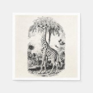 Ejemplo animal personalizado jirafa del vintage servilleta de papel