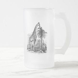 Ejemplo animal personalizado jirafa del vintage taza de cristal