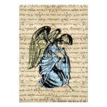 Ejemplo antiguo del ángel en el papel del vintage invitacion personalizada