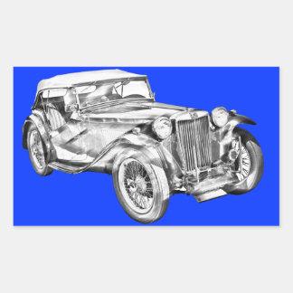 Ejemplo antiguo del coche de deportes del magnesio rectangular pegatinas