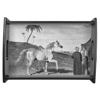 Ejemplo árabe del vintage del caballo bandejas