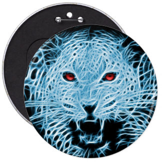 Ejemplo artístico del leopardo azul pin redondo de 6 pulgadas