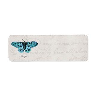 Ejemplo azul de la mariposa del trullo del vintage etiquetas de remite