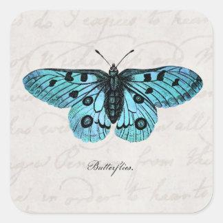 Ejemplo azul de la mariposa del trullo del vintage pegatina cuadrada