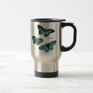 Ejemplo azul de la mariposa del trullo del vintage taza de viaje de acero inoxidable