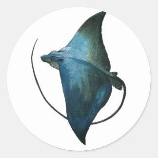 Ejemplo azul de la pastinaca pegatina redonda
