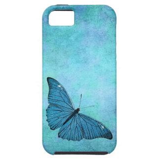 Ejemplo azul de los 1800s de la mariposa del iPhone 5 protector