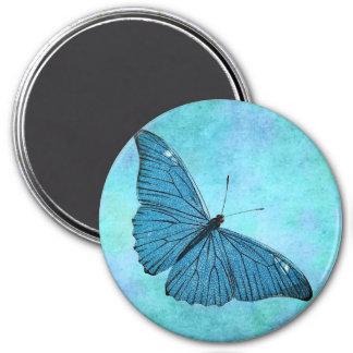 Ejemplo azul de los 1800s de la mariposa del imán redondo 7 cm