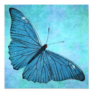 """Ejemplo azul de los 1800s de la mariposa del invitación 5.25"""" x 5.25"""""""