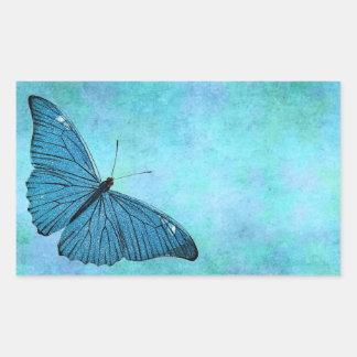 Ejemplo azul de los 1800s de la mariposa del rectangular pegatina