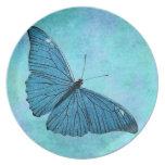 Ejemplo azul de los 1800s de la mariposa del trull plato de cena