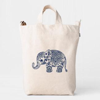 Ejemplo azul del elefante de Paisley del vintage Bolsa De Lona Duck