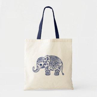 Ejemplo azul elegante del elefante de Paisley Bolsa Tela Barata