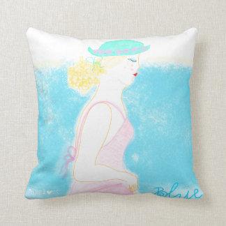 Ejemplo azul pilllow. del chica de la moda de la almohadas