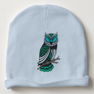 Ejemplo azul y verde lindo del búho de los tonos gorrito para bebe