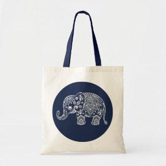 Ejemplo blanco del elefante de Paisley en círculo Bolsa Tela Barata
