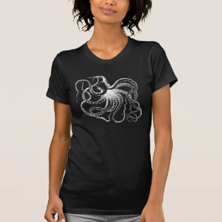 Ejemplo blanco del pulpo del vintage camisetas