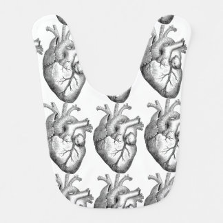 Ejemplo blanco negro simple del corazón de la babero para bebé