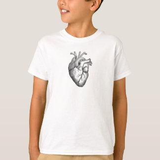 Ejemplo blanco negro simple del corazón de la playera