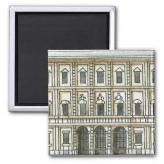 Ejemplo blanco y negro de la fachada del décimo oc imán cuadrado