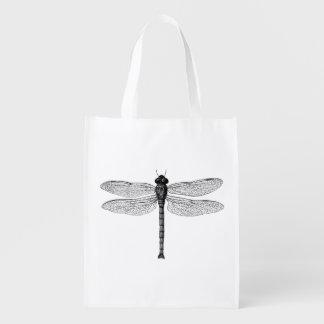 Ejemplo blanco y negro de la libélula del vintage bolsa reutilizable