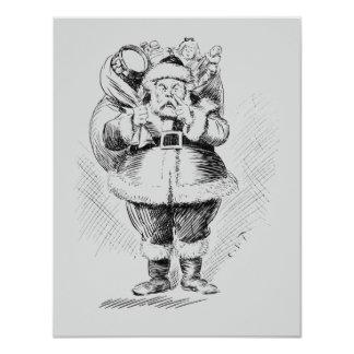 Ejemplo blanco y negro de Papá Noel Invitación 10,8 X 13,9 Cm