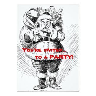 Ejemplo blanco y negro de Papá Noel Invitación 12,7 X 17,8 Cm