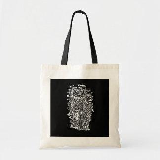 Ejemplo blanco y negro del búho del estilo del tat bolsa tela barata
