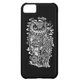 Ejemplo blanco y negro del búho del estilo del tat funda para iPhone 5C