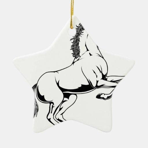 Ejemplo blanco y negro del caballo adornos de navidad
