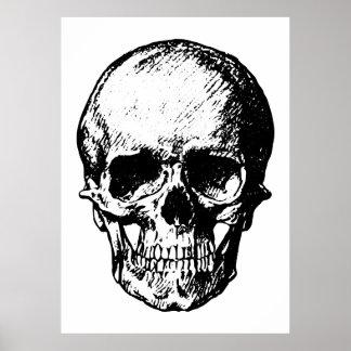 Ejemplo blanco y negro del cráneo del vintage posters