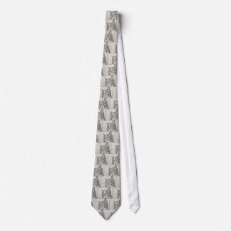 Ejemplo blanco y negro del gato del vintage corbata